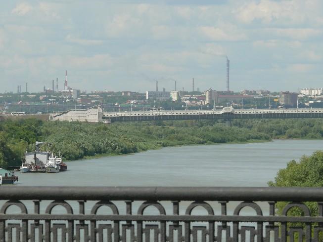 Omskas ainava, šķērsojot Irtišas upi